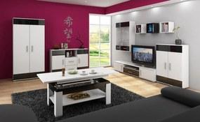 MEBLOCROSS Solar obývacia izba biela / čierny lesk