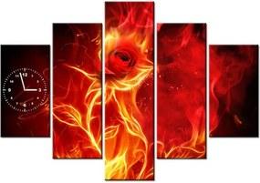 58bad608f Tlačený obraz s hodinami Ruža v ohni 150x105cm ZP1397A_5H
