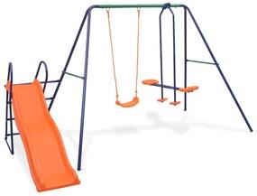 vidaXL Súprava hojdačiek s 3 sedadlami a šmýkačkou, oranžová
