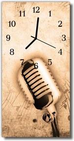 Sklenené hodiny vertikálne  Hudba béžový mikrofón