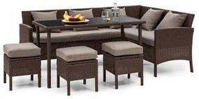 Titania Dining Lounge Set, záhradná sedacia súprava, hnedá/hnedá