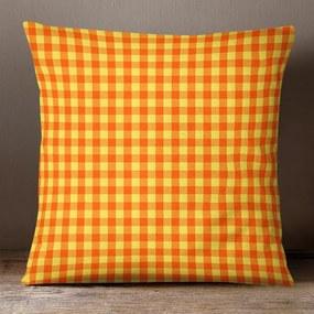 Goldea bavlnená obliečka na vankúš kanafas - vzor malé oranžovo-žlté kocky 30 x 50 cm