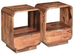 vidaXL Nočný stolík so zásuvkou 2 ks z dreveného masívu sheesham 40x30x50 cm