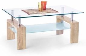 HALMAR Diana Intro sklenený konferenčný stolík dub sonoma / priehľadná / mliečna