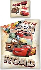 Setino · Bavlnené posteľné obliečky - posteľná bielizeň - Autá - Cars - Blesk McQueen - Take The open road - 140 x 200 + 70 x 90 cm