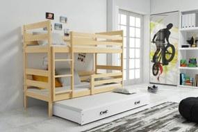 Poschodová posteľ s prístelkou ERIK 3 - 160x80cm - Borovica - Biela
