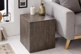 IIG -  Masívny príručný stolík FACTORY 40 cm na kolieskach, mango, šedý
