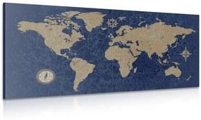 Obraz mapa sveta s kompasom v retro štýle na modrom pozadí