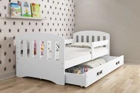 BMS Group Jednolôžková posteľ KLASIK - so zásuvkou - BIELA