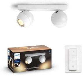 Philips HUE White Ambiance 50472/31/P6 BUCKRAM spot 2xGU10 5.5W/500lm 2200-6500K +SWITCH biela Bluetooth