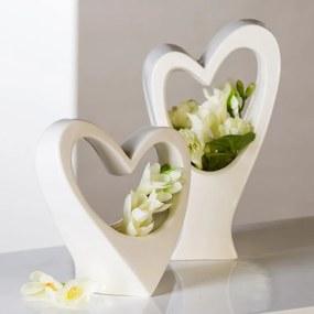 Váza porcelánová Love, 22 cm - biela