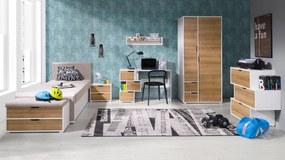 MEBLINE Systémový nábytok IWA 12 Biely / Zlatý dub