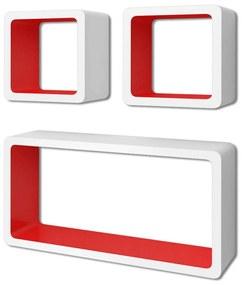 Bielo-červené nástenné poličky z MDF na uskladnenie kníh/DVD, 3 ks, tvar kocky