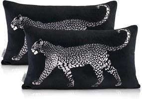 Sada 2 čiernych dekoratívnych vankúšov s leopardom AmeliaHome, 30 x 50 cm