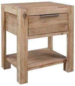 vidaXL Nočný stolík so zásuvkou 40x30x48 cm, akáciový masív