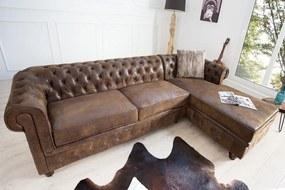 (2623) INGLESE Chesterfield sedačka antik hnedá pravý roh