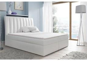 Kontinentálna posteľ Kaspis biela eko koža 200 x 200 + topper zdarma