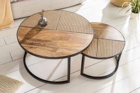 Bighome - Okrúhly konferenčný stolík LINZ 2set - prírodná