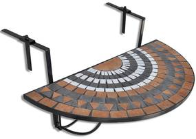 vidaXL Závesný stolík na balkón, tehlovo biely, mozaikový