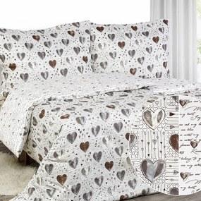 Goldea luxusné obliečky z bavlneného saténu - vzor 596 srdca a zamilované texty 200 x 200 a 2ks 70 x 90 cm