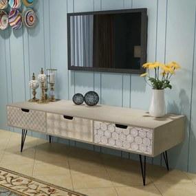 vidaXL Televízny stolík s 3 zásuvkami, 120x40x36 cm, šedá