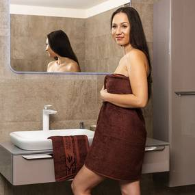 4Home Sada Bamboo Premium osuška a uterák tmavohnedá, 70 x 140 cm, 50 x 100 cm