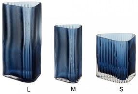 Hübsch Sklenená váza Triangular Blue Grooves S