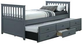 KONDELA Austin New 90 rozkladacia posteľ s prísteľkou sivá