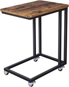 Sconto Prístavný stolík LNT50X matná čierna, rustikálna hnedá