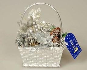 Dekoračný košík s prízdobami, strieborná