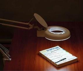 Stolná LED lampa so zväčšovacou lupou na podstavci
