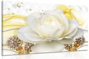 Obraz luxusná ruža s abstrakciou