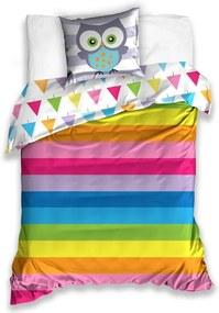 TipTrade Bavlnené obliečky Sovička Rainbow, 140 x 200 cm, 70 x 90 cm
