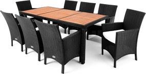 Berlin 1+8 čierna - drevo ( stôl )