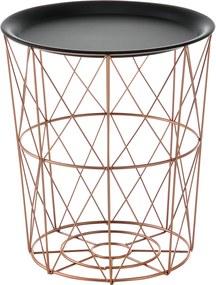 [en.casa]® Kovové koše - 3 kusová sada stolíkov - ružovo zlaté