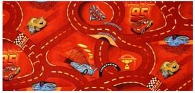 Vopi koberce Kusový koberec The World of Cars 10 červený - 80x120 cm