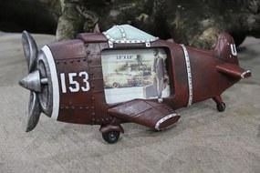 Červený tmavý fotorám v tvare lietadla
