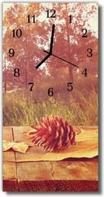 Sklenené hodiny vertikálne  Príroda Borovica kužeľové hnedá