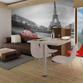 Fototapeta - Eiffelova veža a červené auto 200x154 + zadarmo lepidlo