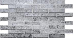 Obkladové 3D PVC panely TP10017309, rozmer 962 x 499 mm, tehla sivá, GRACE