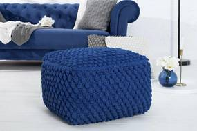 Úpletová taburetka Lilly 55 cm modrá