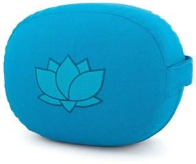 Bodhi Yoga Bodhi Meditačný vankúš oválny s lotosovým kvetom z organickej bavlny 29 x 15 cm Farba: Tyrkysová