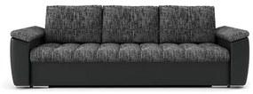 Rozkladacia pohovka VEGAS III Tmavo šedá/čierna eko-koža
