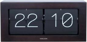 KARLSSON Stolné hodiny Boxed Flip XL tmavé drevo
