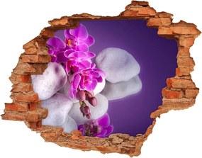 Fotoobraz diera na stenu Čiernobiela mreža WallHole-cegla-90x70-95985496