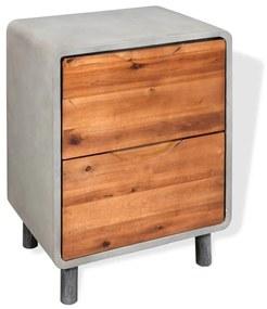 vidaXL Nočný stolík, betón a akáciové drevo, 40x30x50 cm