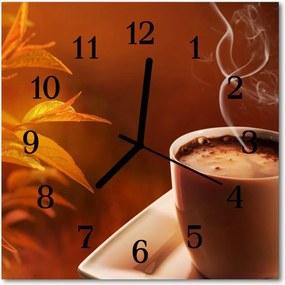 Sklenené hodiny štvorcové  káva