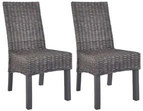 vidaXL Jedálenské stoličky 2 ks kubu ratan a mangovníkové drevo hnedé
