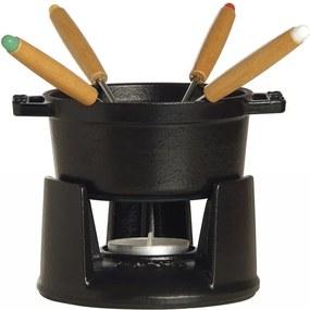 Čokoládové fondue černé - Staub (Mini fondue set na čokoládu litinové černá - Staub)