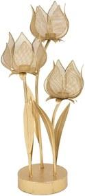 Železný svietnik na 3 sviečky v zlatej farbe Mauro Ferretti Flowery, výška 66 cm